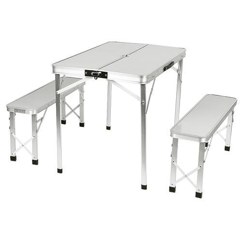 Set de table et 2 bancs en acier inoxydable pour L'extérieur-blanc
