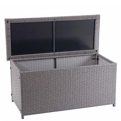 Coffre à coussins en polyrotin, HWC-D88, coffre jardin ~ Basic gris, 63x135x52 cm, 320l