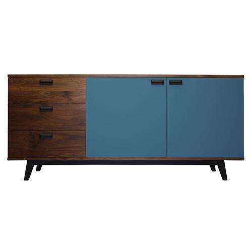 Pirotais Buffet noyer massif et laqué, 3 tiroirs 2 portes, Made in France Bleu