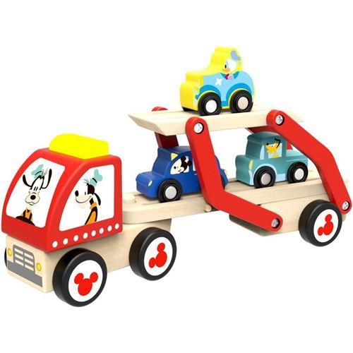 Disney transporteur de voitures Mickey Mouse junior 28 cm bois 5 pièces