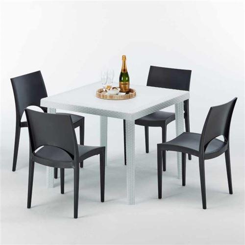 Table Carrée Blanche 90x90cm Avec 4 Chaises Colorées Grand Soleil Set Extérieur Bar Café PARIS LOVE, Couleur: Noir