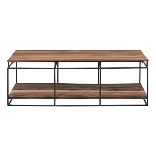 Table basse rectangulaire Fer/Bois double plateau - PHOENIX