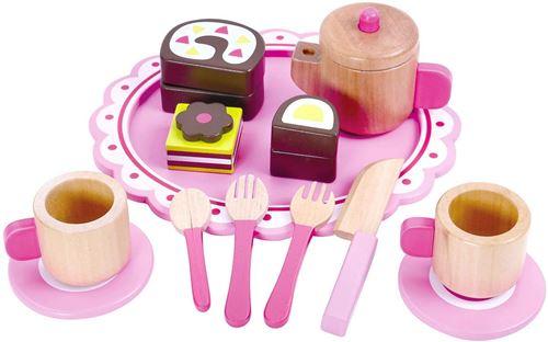 Tooky Toy service à café et à thé junior wood pink/brown 15-pièces