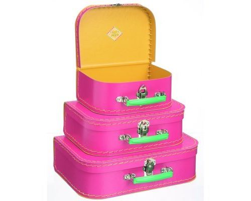 Valise en carton rose grand modèle petit jour paris