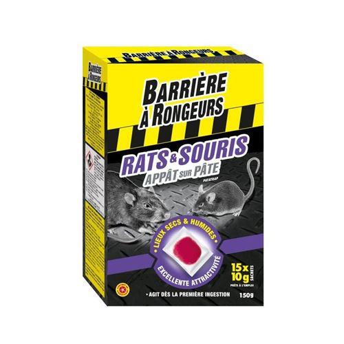 barriere a rongeurs appât sur pâte pour rats et souris - spécial lieux secs et humides - 150 g