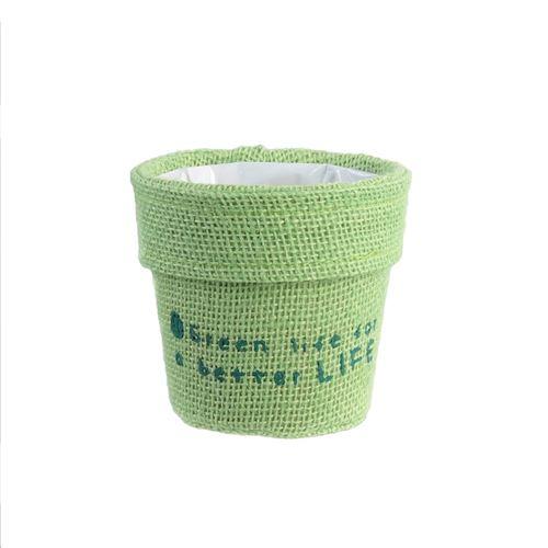 Cache pot en jute plastifié Little Garden - Diam. 13 cm - Vert clair
