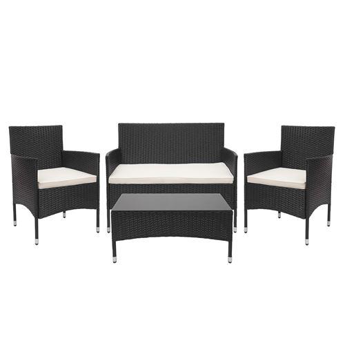 Garniture en polyrotin HWC-F55, ensemble fauteuils, banc et table, balcon/jardin ~ noir, coussins crème