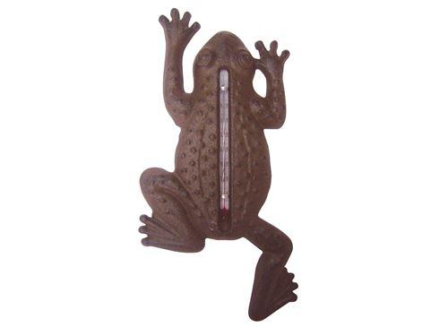 Thermomètre de jardin grenouille en fonte