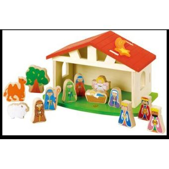 Creche De Noel Enfant EVEREARTH Crèche de Noël pour enfant fabriqué en bois FSC