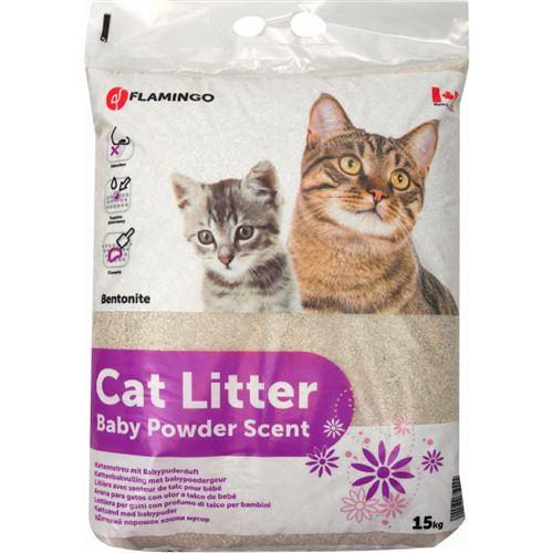 Litière pour chat senteur poudre de Bébé donc au talc. :) poids 15 kg. - Flamingo Pet Products - FL-501044
