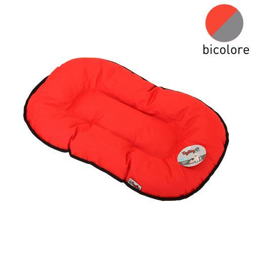 coussin flocon 77cm bicolore rouge/gris