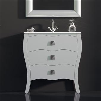 Meuble Salle De Bain 80 Cm Laqué Blanc 3 Tiroirs Vasque Céramique