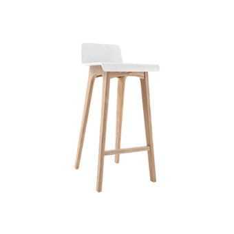 Tabouret Chaise De Bar Design Bois Naturel Et Blanc Scandinave H75cm BALTIK