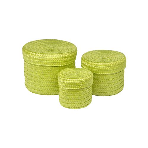 set de 3 boites rondes plastique tressé ø10/ø15/ø18cm trendy vert anis