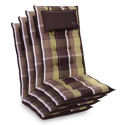 Coussin de chaise de jardin -Blumfeldt Sylt -120 x 50 x9 cm -4 pièces -Carreaux Verts