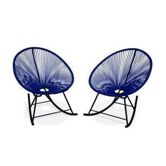 2 fauteuils  bascule Acapulco rocking Bleu roi Alice s Garden