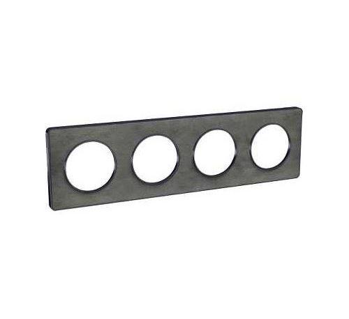 Plaque Odace Touch - Ardoise avec liseré anthracite - Quadruple horizontale et verticale