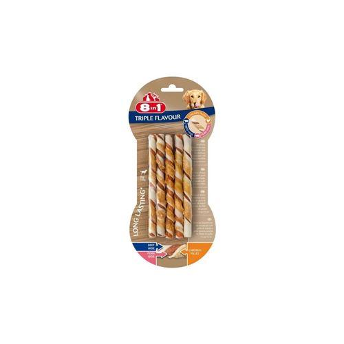 8in1 Triple Flavour Sticks A Macher Premium Aux Boeuf, Porc, Poulet - Pour Chien De Petite Taille - 10 Pieces
