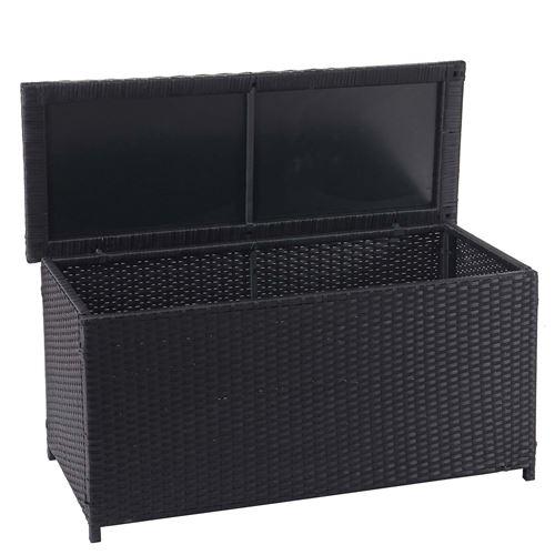 Coffre à coussins en polyrotin, HWC-D88, coffre jardin ~ Basic noir, 63x135x52 cm, 320l