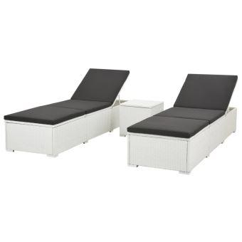 Pour Noir De 5 Tressée Pcs Blanc Chaise Longue Et Soleil Résine Jardin Bain Patio D'extérieur RL4A3q5j