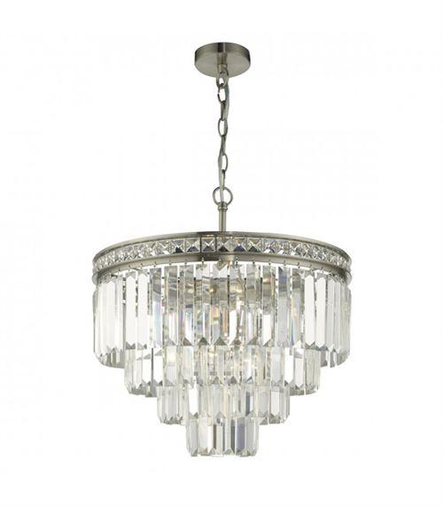 Suspension Vyana cristal et nickel brossé 4 ampoules