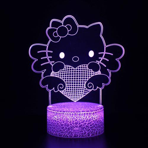 Lampe 3D Tactile Veilleuses Enfant 7 Couleurs avec Telecommande - Hello Kitty #944