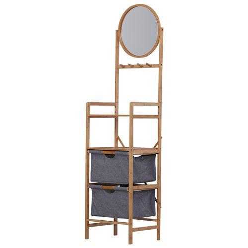 Meuble colonne rangement salle de bain bambou design naturel 41L x 33l x 166H cm 2 étagères, 2 paniers, 4 patères + miroir