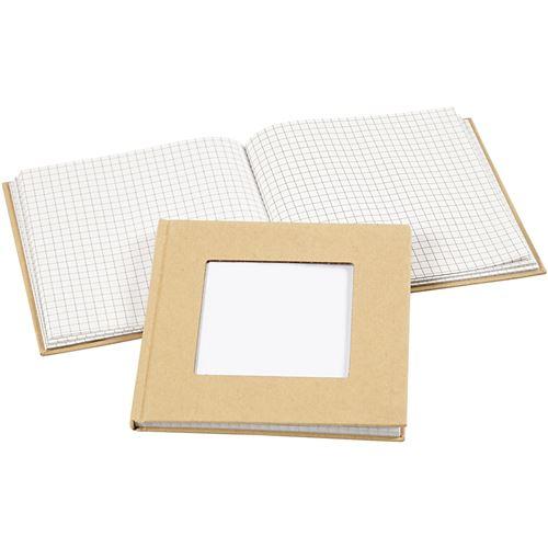 Creotime carnet avec trou 14 x 14 cm marron/blanc