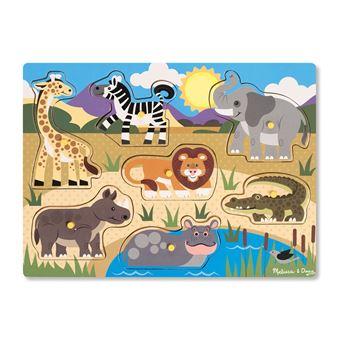 Puzzle en bois à boutons 7 pièces Safari Melissa & Doug