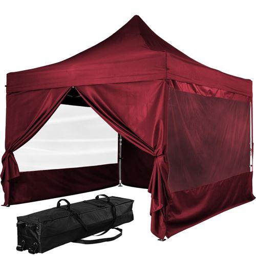 Tonnelle PRO 3x3m, Alu, 4 panneaux inclus, couleur rouge, avec sac de transport à roulettes - INSTENT