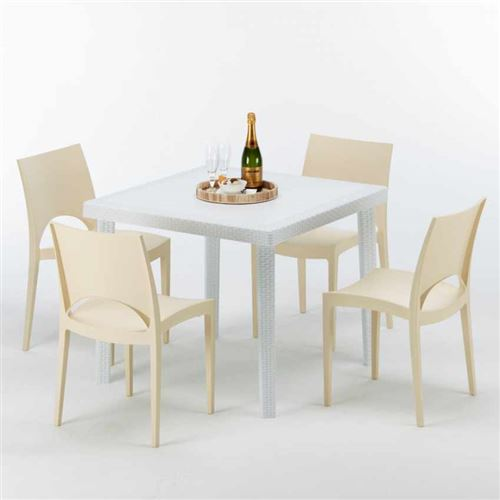Table Carrée Blanche 90x90cm Avec 4 Chaises Colorées Grand Soleil Set Extérieur Bar Café PARIS LOVE, Couleur: Beige