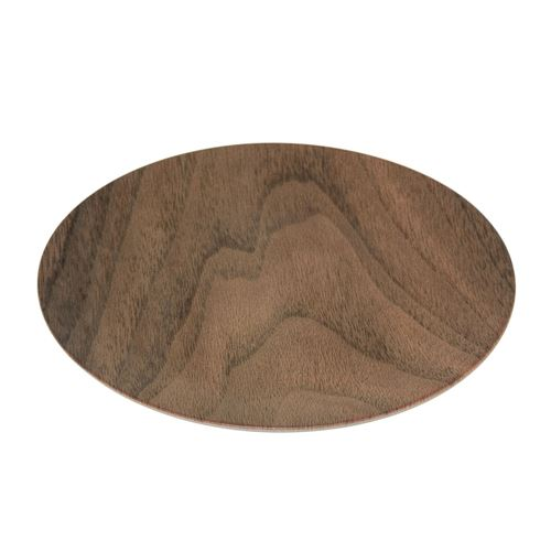 Assiette plate design bois Mood - Diam. 26 cm - Marron