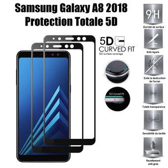 Samsung Galaxy A8 2018 Vitre protection d ecran en verre trempé incassable protection  integrale Full 3D Tempered Glass - Noir - Protection écran pour mobile ... 776f3f4e2b5f