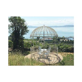 L\'Héritier Du Temps - Grande tonnelle kiosque de jardin pergola abris rond  gloriette en fer forgé blanc 250x250x290cm