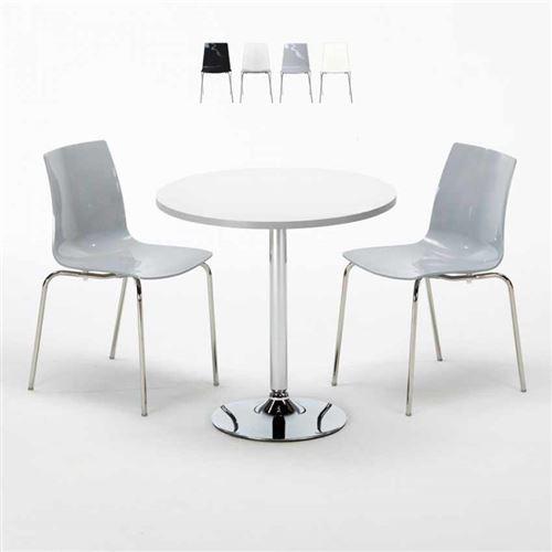 Table Ronde Blanche 70x70cm Avec 2 Chaises Colorées Et Transparentes Set Intérieur Bar Café Lollipop Silver, Couleur: Gris