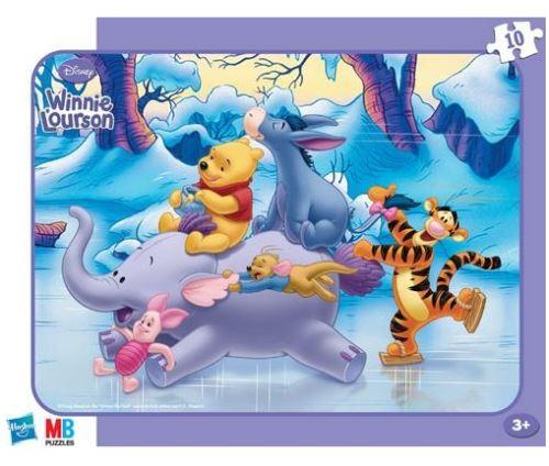 Puzzle avec cadre winnie l ourson tigrou porcinet patinent avec bourriquet et petit gourou - 10 pièces - enfant - disney