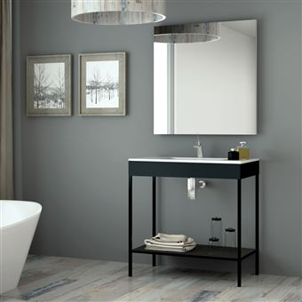 110 Sur Meuble Salle De Bain Noir 80 Cm Vasque Céramique Metal