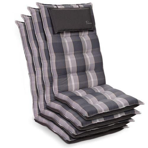 Coussin de chaise de jardin -Blumfeldt Sylt -120 x 50 x9 cm -4 pièces -Gris / blanc