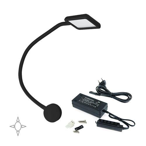 Emuca Applique LED, carré, col de cygne flexible, détecteur tactile, 2 USB, Lumière blanc naturel, Plastique, Noir + convertisseur 30 W