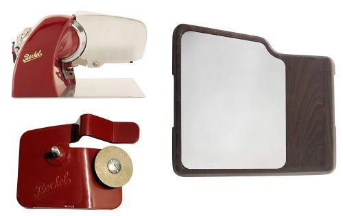 Berkel - Home Line 200 Rouge + Planche à Découper Inoxydable, Bois + Affûteur d'accessoires pour Home Line