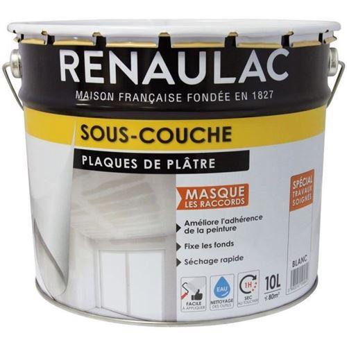 peinture - vernis - traitement (lasure - effets decoratifs) sous-couche spéciale plaque de plâtre blanc - 10l - 80m² / pôt