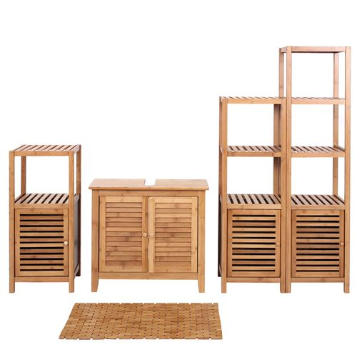 Set complet de salle de bains HWC-B18, Meuble Armoires Étagères Bambou