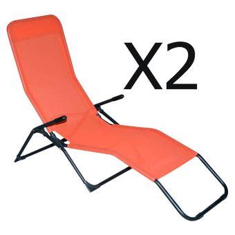 Lot De 2 Chaises Longues En Texaline Coloris Orange - Dim   193 X 59 X 96  Cm -Pegane- Mobilier de Jardin - Achat   prix   fnac 53800536df3c