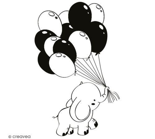 Tampon en bois Aladine - Eléphant Ballons - 4 x 6 cm