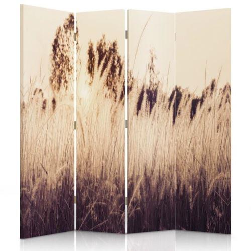 Feeby Paravent rotatif Cloison de séparation intérieur 4 panneaux, Hautes herbes sépia 145x180 cm