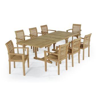 Salon de jardin en teck Ecograde Kingston, table extensible 1.80 à 2.40 m +  8 fauteuils Samoa