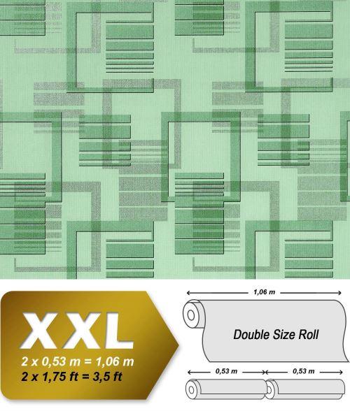 XXL Papier peint intissé EDEM 609-95 Design abstrait années 70 motif carrés rétro effet 3D vert menthe gris | 10,65 m2