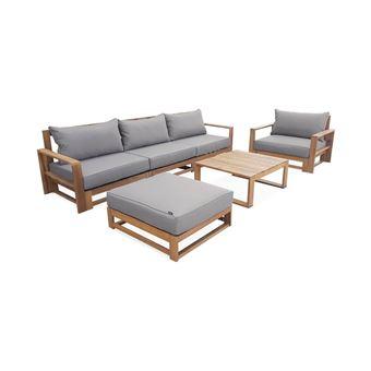 Salon de jardin en bois 5 places - Mendoza - Coussins gris, canapé,  fauteuils et table basse en acacia