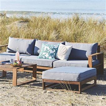 Salon de jardin en bois 5 places - Mendoza - Coussins gris, canapé ...