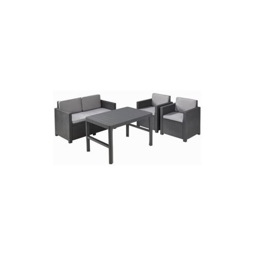 Allibert Salon De Jardin Monaco Lyon 4 Places - Imitation Resine Tressee  Avec Table 2 Positions - Graphite